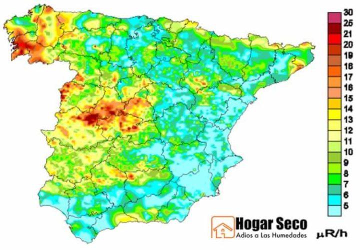 Mapa Del Radon En Espana.Gas Radon Mapa Gas Radon Zonas Mas Afectadas